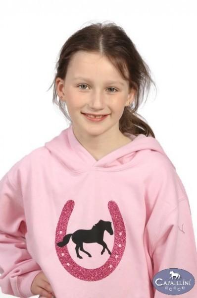 Girls Pink Glitter Horse Hoodie