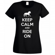 Keep Calm and Ride on T-Shirt Black