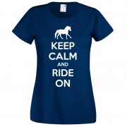 Keep Calm and Ride on T-Shirt Navy