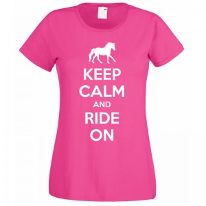 Keep Calm and Ride on T-Shirt Pink