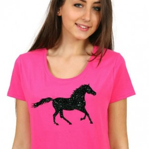 Capaillíní Equestrian Collection- Glitter Horse T-Shirt_black_glitter