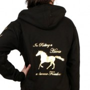 In Riding a Horse we borrow Freedom - Zip Hoodie_black