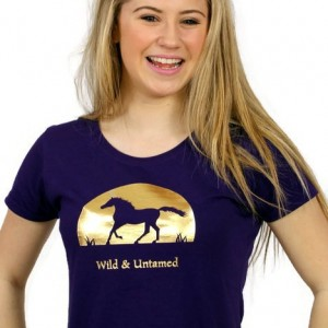 Capaillíní Equestrian Collection-Wild and Untamed Horse T-shirt_purple