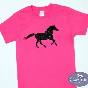 Girls Pink Glitter Horse T-Shirt