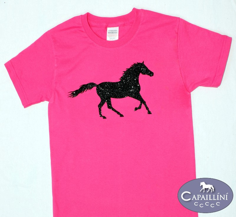 Girls Pink Glitter Horse T-Shirt