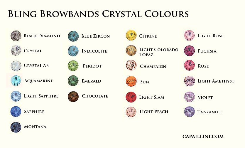 Bling Browbands Crystal Colours