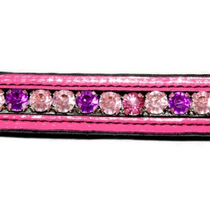 Bling Browband - Pink Patent Leather and Crystals