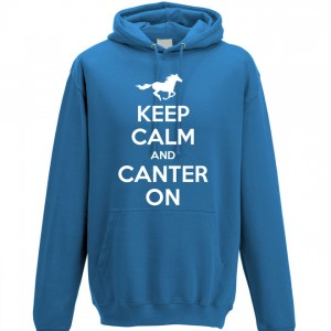 Keep Calm and Canter on Hoodie blue2