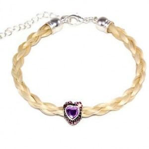Horsehair Bracelet with Crystal Heart